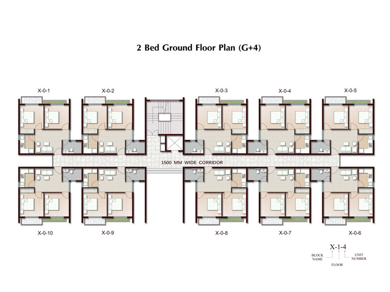 2 bhk apartment in joka plan ground floor typical block for Apartment block plans